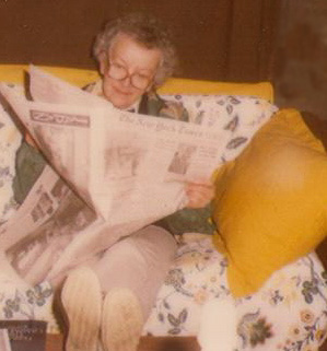 BoboNYT: My mom, with her feet up, reading the NY Times.