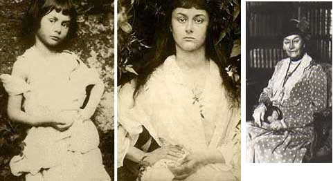 "AliceTrio: Three photographs of Alice Liddell, the inspiration for Alice in Wonderland.    The first, taken in 1859 by Lewis Carrol (Charles Dodgson) shows 7 year-old Alice posed as a beggar girl.    The second, taken by the famous Victorian photographer Julia Cameron shows Alice as a young woman, posed in the mirror image of Carroll's photo.    The third shows Alice at 80, when she was eking out her income by lecturing on her experience as ""Alice."""