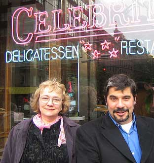 BetsySanford: Betsy Devine and Sanford Dickert in front of Celebrity deli, photo by Mary Hodder