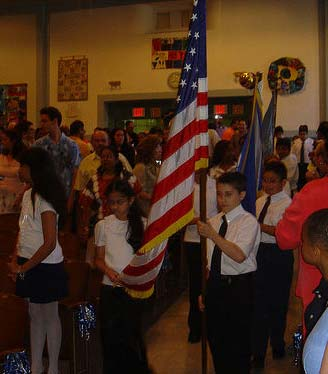 Castlewood: Fifth-grade color guard at graduation ceremony, Queens, NY, Castlewood School.