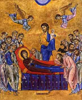 "Dormition: Virgin Mary on her deathbed sees Jesus both as a baby and as a young man. A ""dormition"" is a painting of an elderly saint on his or her deathbed."