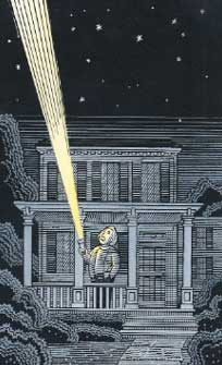 EinsteinPrinceton: Illustration by Ron Barrett: Albert Einstein stands on his porch in Princeton, shining a flashlight toward the starry sky.
