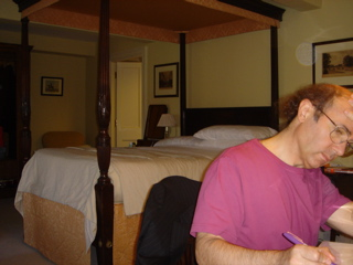 FrankTrinity: Frank Wilczek at work in Trinity College guest room, Cambridge, UK.