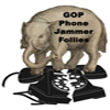 "MiniElephant: Elephant, labeled ""GOP Phone Jammer Follies"", crushing telephone."