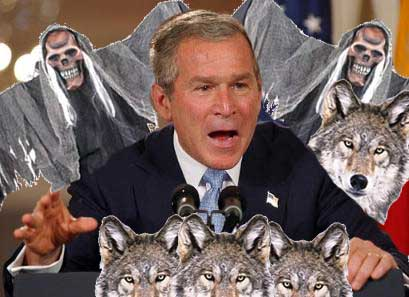 NextBushAd: Parody scary Bush ad with wolves and ghouls