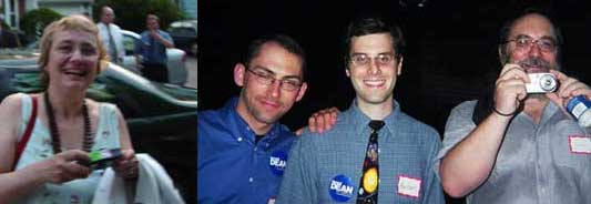 WaitingForDean: Betsy Devine (picture by Dave); Dean Team-ers Mike Weissman and Aaron with Dave Winer (picture by Betsy)