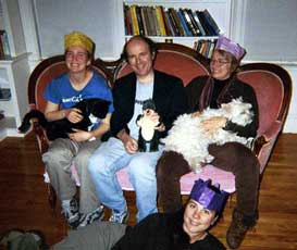 Happy birthday party with pets and hats