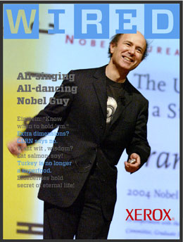 Frank Wilczek on a mock-up cover of Wired magazine