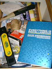 David Weinberger's book in Betsy Devine's very messy kitchen tool drawer