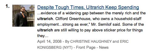 NYT story 20080414 on ultrarich