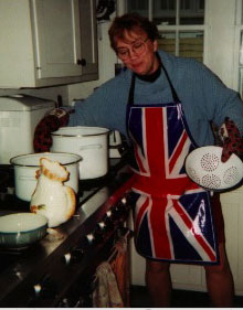 Betsy Devine cooking for Thanksgiving, 1999